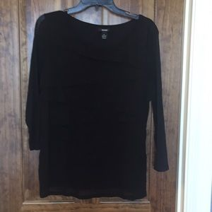 Alfani black tiered front long sleeve blouse XL